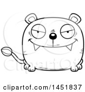 Cartoon Black And White Lineart Sly Lioness Character Mascot