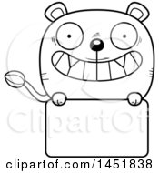Cartoon Black And White Lineart Lioness Character Mascot Over A Blank Sign