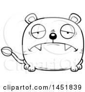 Clipart Graphic Of A Cartoon Black And White Lineart Sad Lioness Character Mascot Royalty Free Vector Illustration