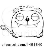 Cartoon Black And White Lineart Sleeping Lioness Character Mascot