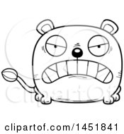 Cartoon Black And White Lineart Mad Lioness Character Mascot