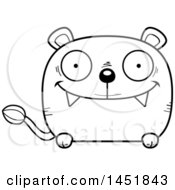 Cartoon Black And White Lineart Happy Lioness Character Mascot
