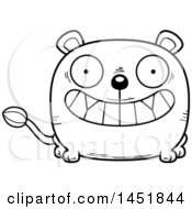 Cartoon Black And White Lineart Grinning Lioness Character Mascot