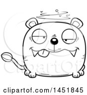 Cartoon Black And White Lineart Drunk Lioness Character Mascot