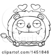 Cartoon Black And White Lineart Loving Male Lion Character Mascot