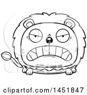 Cartoon Black And White Lineart Mad Male Lion Character Mascot