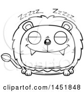 Cartoon Black And White Lineart Sleeping Male Lion Character Mascot
