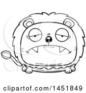 Cartoon Black And White Lineart Sad Male Lion Character Mascot