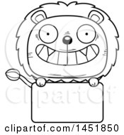Cartoon Black And White Lineart Male Lion Character Mascot Over A Blank Sign