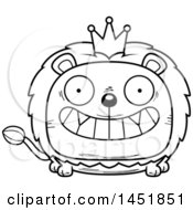 Cartoon Black And White Lineart Grinning Lion King Character Mascot