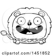 Cartoon Black And White Lineart Smiling Male Lion Character Mascot