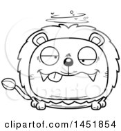 Cartoon Black And White Lineart Drunk Male Lion Character Mascot