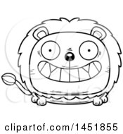 Cartoon Black And White Lineart Grinning Male Lion Character Mascot
