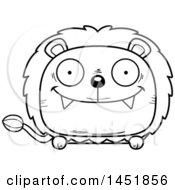 Clipart Graphic Of A Cartoon Black And White Lineart Happy Male Lion Character Mascot Royalty Free Vector Illustration