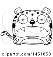 Clipart Graphic Of A Cartoon Black And White Lineart Sad Leopard Character Mascot Royalty Free Vector Illustration
