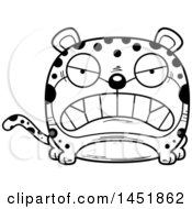 Clipart Graphic Of A Cartoon Black And White Lineart Mad Leopard Character Mascot Royalty Free Vector Illustration