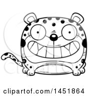 Clipart Graphic Of A Cartoon Black And White Lineart Grinning Leopard Character Mascot Royalty Free Vector Illustration