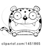Clipart Graphic Of A Cartoon Black And White Lineart Happy Leopard Character Mascot Royalty Free Vector Illustration