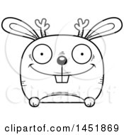 Clipart Graphic Of A Cartoon Black And White Lineart Happy Jackalope Character Mascot Royalty Free Vector Illustration