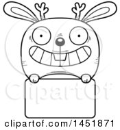 Cartoon Black And White Lineart Jackalope Character Mascot Over A Blank Sign