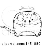 Clipart Graphic Of A Cartoon Black And White Lineart Drunk Gecko Character Mascot Royalty Free Vector Illustration