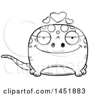 Cartoon Black And White Lineart Loving Gecko Character Mascot