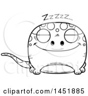 Clipart Graphic Of A Cartoon Black And White Lineart Sleeping Gecko Character Mascot Royalty Free Vector Illustration
