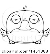 Cartoon Black And White Lineart Sad Duck Character Mascot