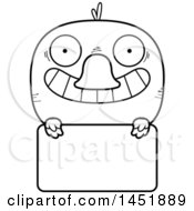 Clipart Graphic Of A Cartoon Black And White Lineart Duck Character Mascot Over A Blank Sign Royalty Free Vector Illustration