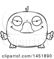Cartoon Black And White Lineart Sly Duck Character Mascot