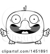 Cartoon Black And White Lineart Smiling Duck Character Mascot