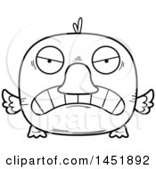 Cartoon Black And White Lineart Mad Duck Character Mascot