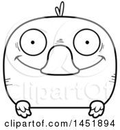 Clipart Graphic Of A Cartoon Black And White Lineart Happy Duck Character Mascot Royalty Free Vector Illustration