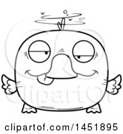 Clipart Graphic Of A Cartoon Black And White Lineart Drunk Duck Character Mascot Royalty Free Vector Illustration