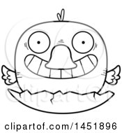 Clipart Graphic Of A Cartoon Black And White Lineart Hatching Duck Character Mascot Royalty Free Vector Illustration