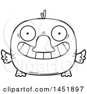 Clipart Graphic Of A Cartoon Black And White Lineart Grinning Duck Character Mascot Royalty Free Vector Illustration