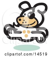 Gleeful Dog Running Clipart Illustration