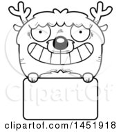 Cartoon Black And White Lineart Deer Character Mascot Over A Blank Sign