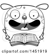 Cartoon Black And White Lineart Reading Dog Character Mascot