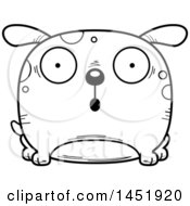 Clipart Graphic Of A Cartoon Black And White Lineart Surprised Dog Character Mascot Royalty Free Vector Illustration