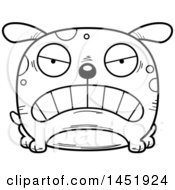Cartoon Black And White Lineart Mad Dog Character Mascot