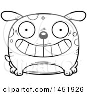 Cartoon Black And White Lineart Grinning Dog Character Mascot