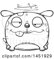 Cartoon Black And White Lineart Drunk Dog Character Mascot