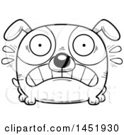 Cartoon Black And White Lineart Scared Dog Character Mascot