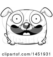 Cartoon Black And White Lineart Happy Dog Character Mascot