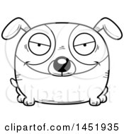 Cartoon Black And White Lineart Evil Dog Character Mascot