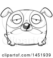 Cartoon Black And White Lineart Sad Dog Character Mascot