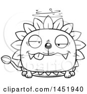Clipart Graphic Of A Cartoon Black And White Lineart Drunk Dandelion Character Mascot Royalty Free Vector Illustration