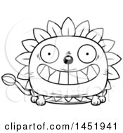 Clipart Graphic Of A Cartoon Black And White Lineart Grinning Dandelion Character Mascot Royalty Free Vector Illustration
