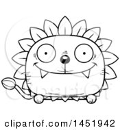 Clipart Graphic Of A Cartoon Black And White Lineart Happy Dandelion Character Mascot Royalty Free Vector Illustration